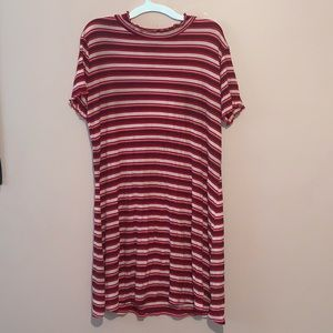 Wild Fable Red & White Striped T-shirt Dress